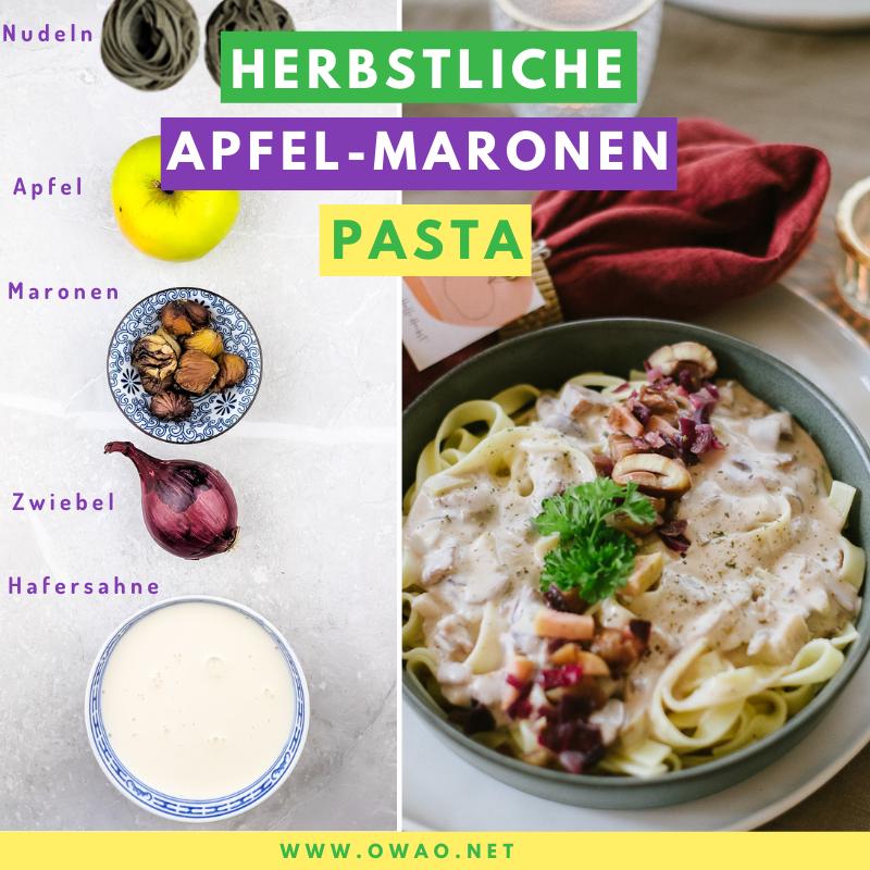 Herbstliches Essen Herbstliche Pasta gefällig Probier doch mal unsere Apfel-Maronen Pasta