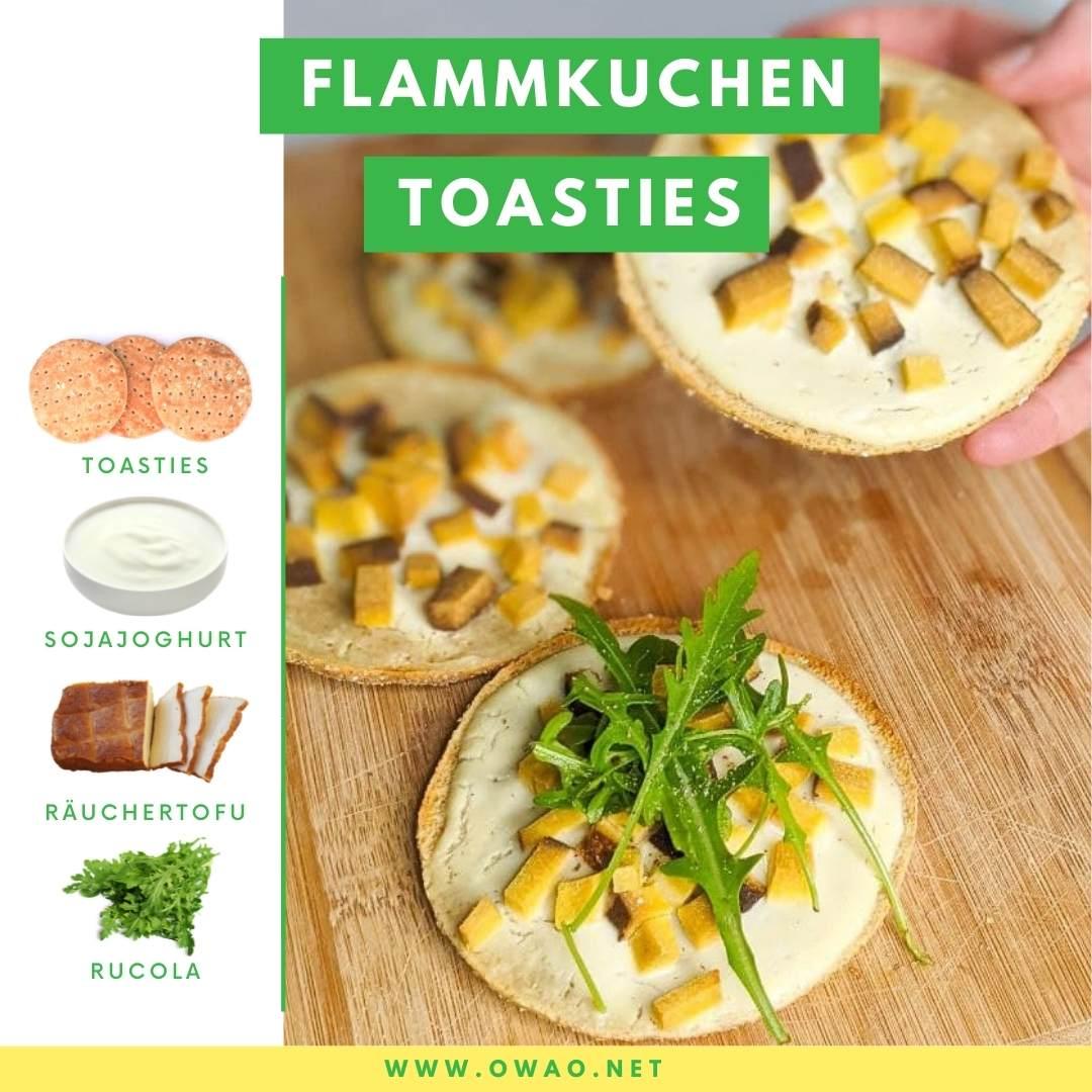 Veganes Abendessen warm: Geniale Flammkuchen Toasties